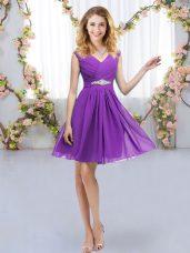 Comfortable Mini Length Eggplant Purple Bridesmaid Gown Chiffon Sleeveless Belt