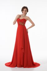 Amazing Red Sleeveless Brush Train Appliques and Ruching Prom Party Dress