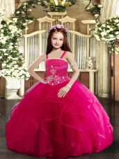 High End Floor Length Lace Up Pageant Dress Womens Hot Pink for Party and Wedding Party with Beading and Ruffles