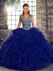 Vintage Straps Sleeveless Quinceanera Gown Floor Length Beading and Ruffles Purple Tulle