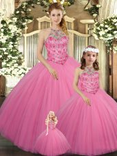 Hot Selling Floor Length Ball Gowns Sleeveless Rose Pink Sweet 16 Dresses Lace Up