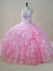 Baby Pink Halter Top Lace Up Embroidery and Ruffled Layers Quinceanera Dress Sleeveless