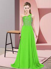 Stunning Sleeveless Side Zipper Floor Length Beading Evening Wear