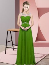 Unique Floor Length Backless Green for Prom and Party and Military Ball with Beading