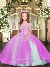 Straps Sleeveless Lace Up Little Girls Pageant Dress Wholesale Lilac Tulle