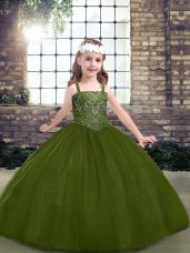 Sleeveless Floor Length Beading Lace Up Child Pageant Dress with Olive Green