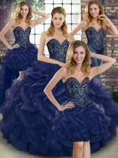 Ideal Navy Blue Quinceanera Dress Military Ball and Sweet 16 and Quinceanera with Beading and Ruffles Sweetheart Sleeveless Lace Up