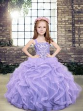 Fashion Floor Length Ball Gowns Sleeveless Lavender Little Girl Pageant Dress Lace Up