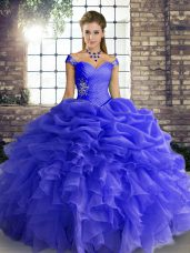Modest Sleeveless Lace Up Floor Length Beading and Ruffles and Pick Ups Sweet 16 Quinceanera Dress
