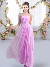 Lilac Sleeveless Sweep Train Beading Quinceanera Court Dresses