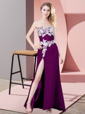 Chiffon Sweetheart Sleeveless Zipper Lace and Appliques Homecoming Dress in Eggplant Purple