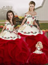 Edgy White And Red Sleeveless Tulle Lace Up Quinceanera Dresses for Military Ball and Sweet 16 and Quinceanera