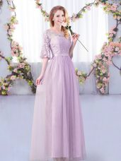 Floor Length Empire Half Sleeves Lavender Wedding Party Dress Side Zipper