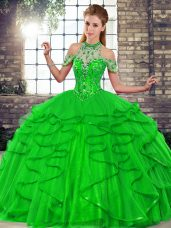 Beauteous Floor Length Green 15th Birthday Dress Tulle Sleeveless Beading and Ruffles
