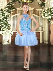 Beauteous Organza Sleeveless Mini Length Evening Dress and Embroidery