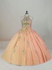 Noble Appliques and Embroidery Vestidos de Quinceanera Peach Lace Up Sleeveless Brush Train