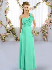 Shining Floor Length Turquoise Court Dresses for Sweet 16 One Shoulder Sleeveless Lace Up