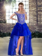 Royal Blue Lace Up Pageant Dress for Girls Beading and Lace Sleeveless High Low
