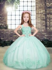 Low Price Apple Green Straps Neckline Beading Kids Pageant Dress Sleeveless Lace Up