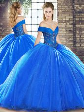 Custom Made Organza Off The Shoulder Sleeveless Brush Train Lace Up Beading Quinceanera Gowns in Royal Blue