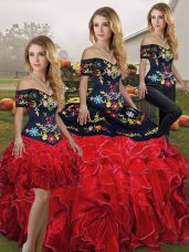 Designer Red And Black Sleeveless Floor Length Embroidery and Ruffles Lace Up Sweet 16 Dresses