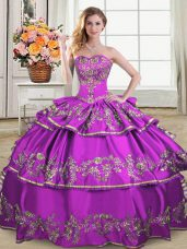 Gorgeous Floor Length Ball Gowns Sleeveless Purple Quince Ball Gowns Lace Up