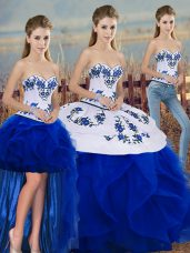 Vintage Royal Blue Three Pieces Embroidery and Ruffles and Bowknot Quinceanera Gown Lace Up Tulle Sleeveless Floor Length