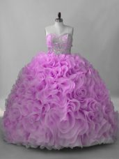 Lilac Sweetheart Lace Up Beading Quinceanera Gown Brush Train Sleeveless