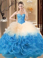 Custom Designed Multi-color Quinceanera Gown Sweet 16 and Quinceanera with Beading and Ruffles Sweetheart Sleeveless Lace Up