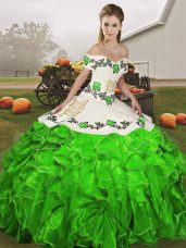 Delicate Floor Length Green Quinceanera Dresses Off The Shoulder Sleeveless Lace Up