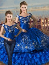 Royal Blue Lace Up Sweet 16 Quinceanera Dress Embroidery and Ruffled Layers Sleeveless Floor Length
