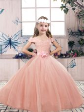 Popular Sleeveless Tulle Floor Length Lace Up Kids Pageant Dress in Peach with Lace and Belt