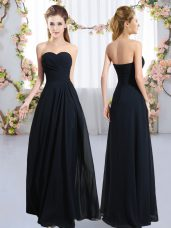 Simple Navy Blue Sweetheart Zipper Ruching Quinceanera Court of Honor Dress Sleeveless
