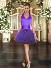Mini Length Ball Gowns Sleeveless Purple Dress for Prom Lace Up
