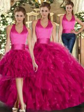 Exceptional Fuchsia Halter Top Lace Up Ruffles Sweet 16 Dresses Sleeveless