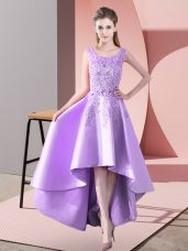 Lavender Scoop Zipper Lace Quinceanera Dama Dress Sleeveless