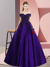 Floor Length Zipper Quince Ball Gowns Purple for Party and Sweet 16 and Wedding Party with Lace