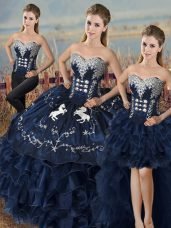 Navy Blue Satin and Organza Lace Up Quinceanera Gowns Sleeveless Embroidery and Ruffles
