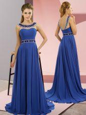 Scoop Sleeveless Chiffon Juniors Evening Dress Beading Brush Train Zipper