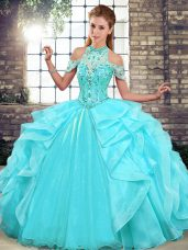Great Aqua Blue Organza Lace Up Halter Top Sleeveless Floor Length Quinceanera Dresses Beading and Ruffles