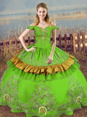 Clearance Floor Length Green Sweet 16 Dress Off The Shoulder Sleeveless Lace Up