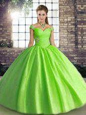 Lace Up Ball Gown Prom Dress Beading Sleeveless Floor Length