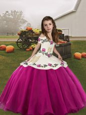 Glorious Sleeveless Organza Floor Length Lace Up Kids Formal Wear in Fuchsia with Embroidery