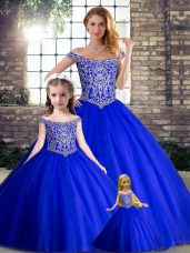 Gorgeous Royal Blue Ball Gowns Beading Sweet 16 Dresses Lace Up Tulle Sleeveless