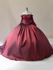 New Arrival Burgundy Long Sleeves Satin Brush Train Lace Up 15th Birthday Dress for Sweet 16 and Quinceanera