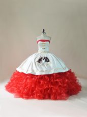 Popular White And Red Strapless Lace Up Embroidery and Ruffles Quince Ball Gowns Brush Train Sleeveless