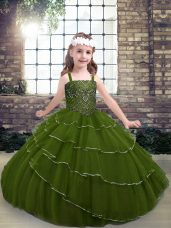 Custom Designed Olive Green Tulle Lace Up Teens Party Dress Sleeveless Floor Length Beading and Ruffled Layers