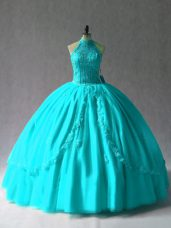 Free and Easy Aqua Blue Halter Top Lace Up Appliques Ball Gown Prom Dress Sleeveless