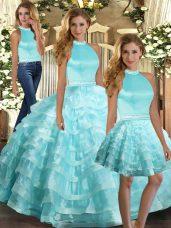 Aqua Blue Ball Gowns Organza Halter Top Sleeveless Ruffled Layers Floor Length Backless Quinceanera Gowns