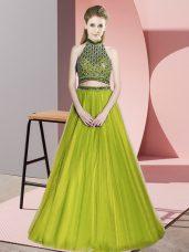Floor Length Olive Green Evening Dress Tulle Sleeveless Beading